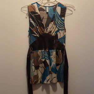 Brown and aqua sleeveless silky top